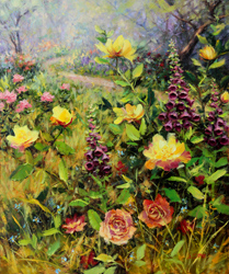 Bill_Inman_Penny_Lane_24x20_Foxglove_Roses_Oil_Painting