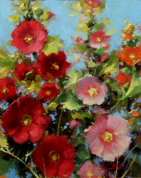 Bill_Inman_Pink_and_Red_in_the_Flower_Bed_10x8_Hollyhocks_Oil_Painting