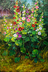 Bill_Inman_Room_with_a_View_Hollyhocks_36x24_Oil_Painting