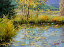 Bill_Inman_Early_Autumn's_Reflections_12x16_Mountains_Pond_Oil_Painting