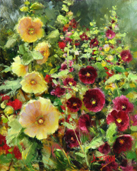 Bill_Inman_Harmony_at_Home_Hollyhocks_10x8_Oil_Painting