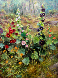 Bill_Inman_Sunday_Best_40x30_Oil_Painting_Hollyhock